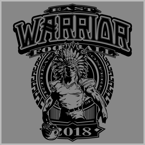 72427c92 Warrior Football Shirt with Strong Indian Mascot and Graphic Design Elements