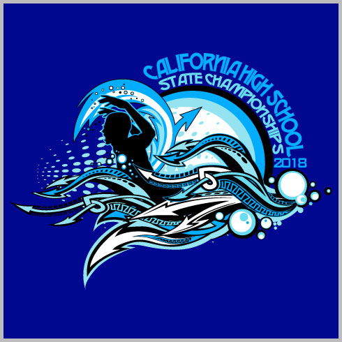 Swimming Championships Shirt with Water Design Elements